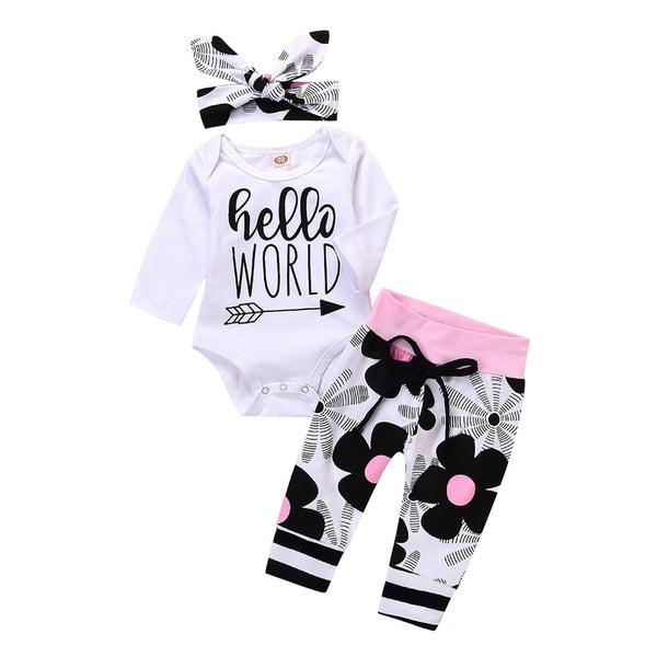 Toddler Infant Baby Girls dress Letter Floral Print Romper Jumpsuit
