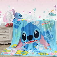 Disney Soft Flannel Moana Pua Teal Blue Hawaii Stitch Blankets for Girls Boys Children