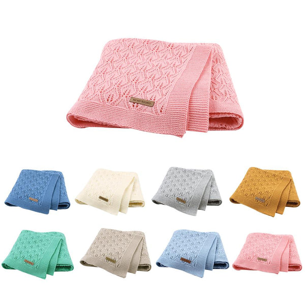 Baby Blankets Knitted Cotton Solid Color Newborn Bebes Sleeping Bed