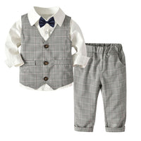 Long sleeve Turn-Down Collar 4PC Toddler Baby Boy  Wedding Suit