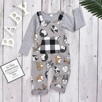 Toddler Boutique Outfit Baby Girls Boys Cartoon Plaid Jumpsuit