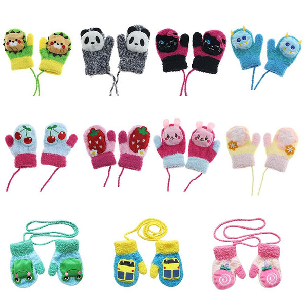 1 Pair Cute Cartoon Thicken Warm Coral Fleece Infant Baby Boys Girls Winter Warm Gloves