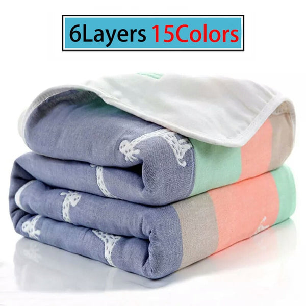 Baby Blankets Muslin Cotton 6 Layers Newborn Swaddling