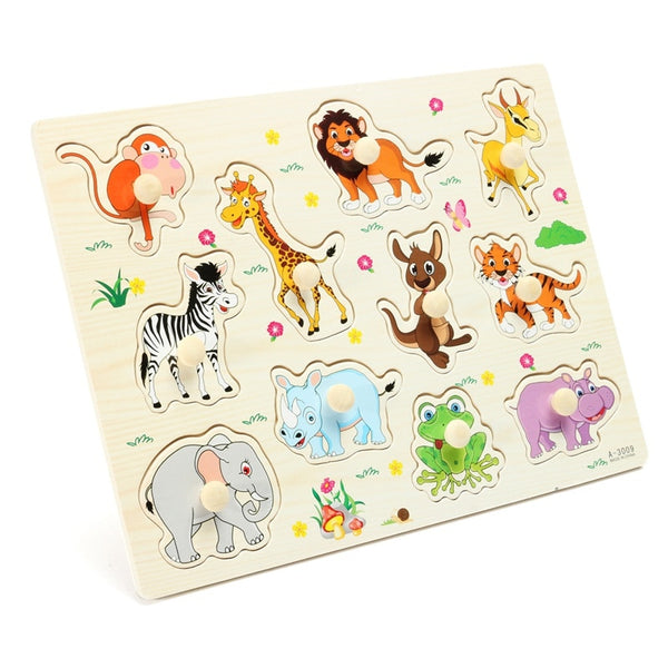 Cartoon Cute Animal Tiger Giraffe Wooden Jigsaw Puzzles