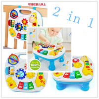 Free shipping musical baby crib attachment toy activity learning table 2 in 1 baby bed hanging toys soothe and flashing light