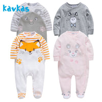 Kavkas Baby Romper Warm Winter Long Sleeve Jumpsuit Plush Newborn Baby Girl Clothing Roupa De Bebes