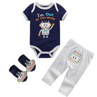 Spring Newborn Clothes Cotton Long Sleeve Rompers+Pant+Hat 3/4PCS/Set