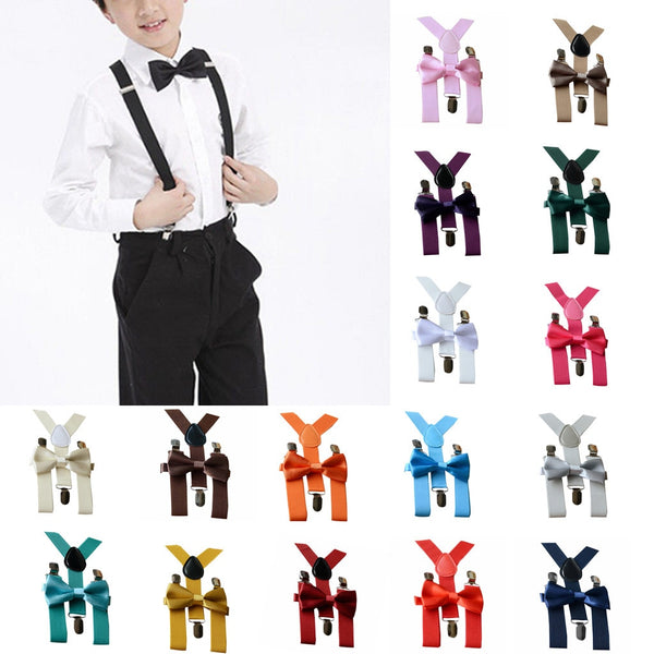 1-10year Baby Adjustable Braces Elastic Suspenders Bow Tie Set