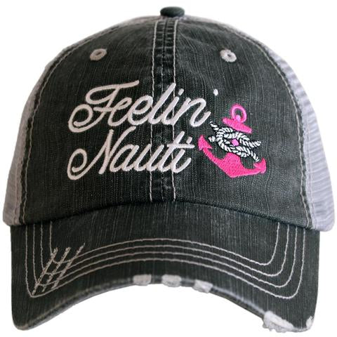 Feeling Nauti w/ Anchor Gray Hat  - Hot Pink