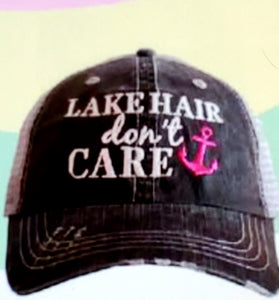 Lake Hair Don't Care Gray Hat -Hot Pink