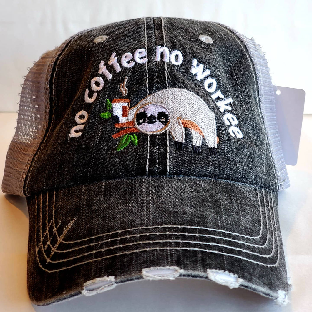 No Coffee No Workee SLOTH Hat