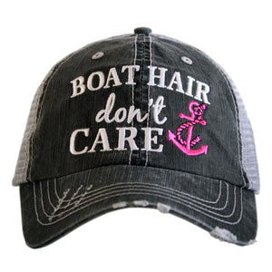 Boat Hair Don't Care Gray Hat  -Hot Pink