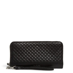 Carryall RFID Accordion Wristlet Black Leather
