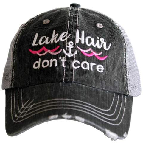 Lake Hair Don't Care WAVES/ANCHOR Gray Hat - Hot Pink