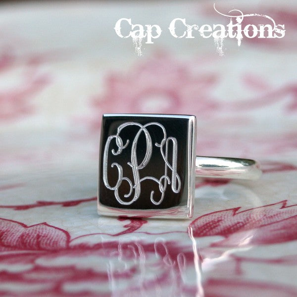 Engraved Square Ring