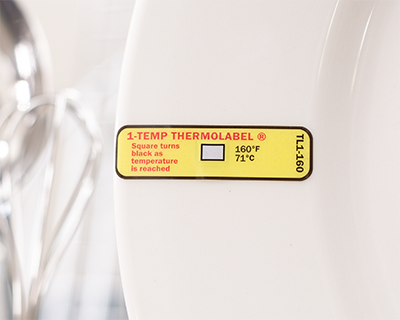 TL1-160 temperature label attached to a dish