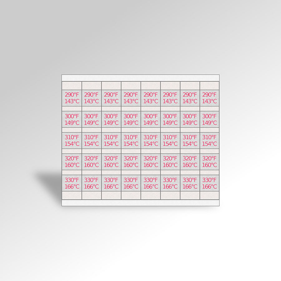 5 temp thermolabel 290 330 f temp labels 5 temp range paper thermometer