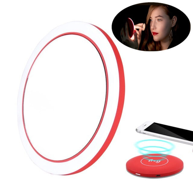 Portable lighted makeup mirror with Wireless Charging