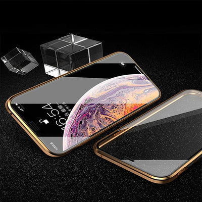 360° Tempered Glass Metal Magnetic Case