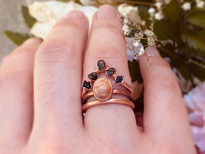 Sunstone & Black Tourmaline Wedding Set