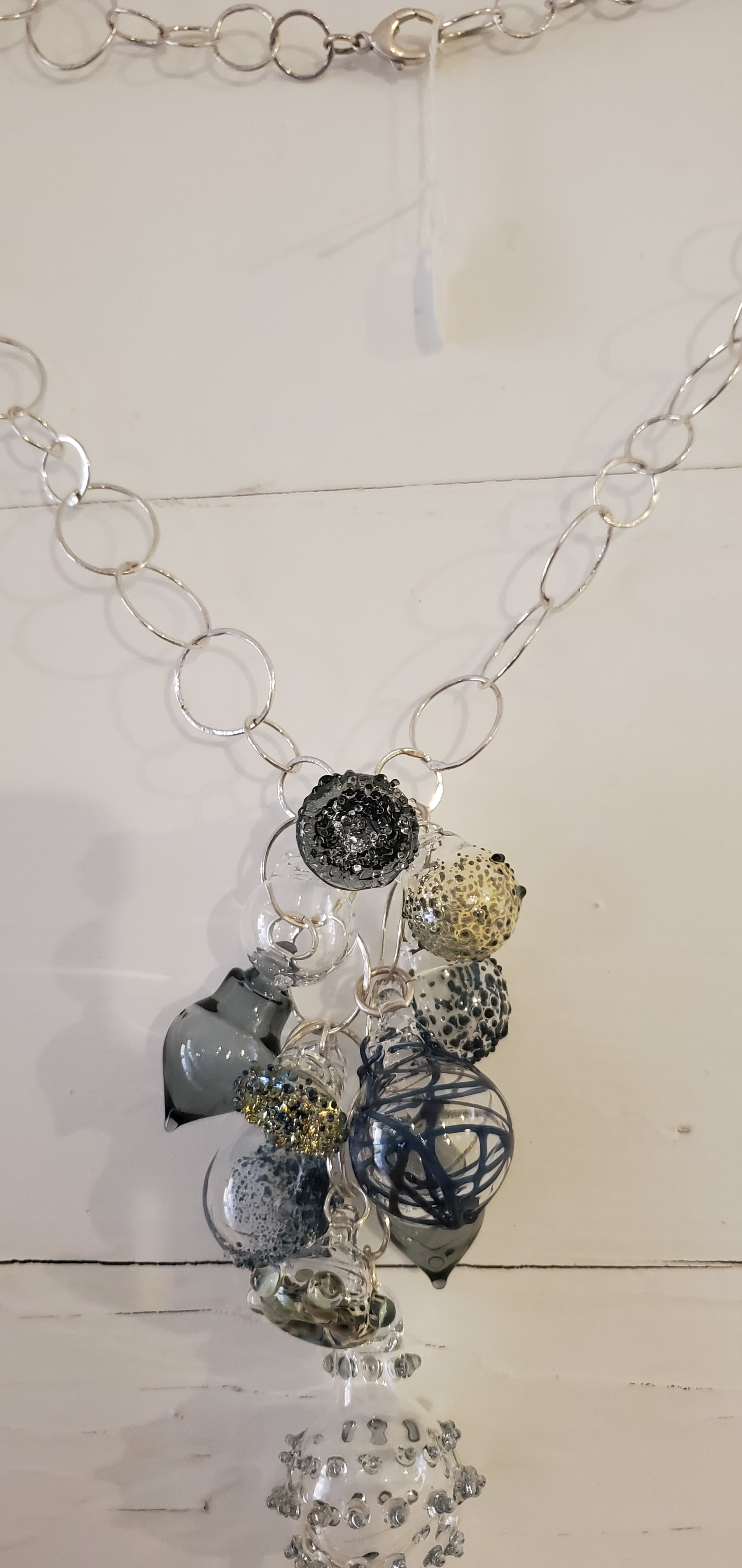 handmade fine silver chain with large cluster - philadelphia