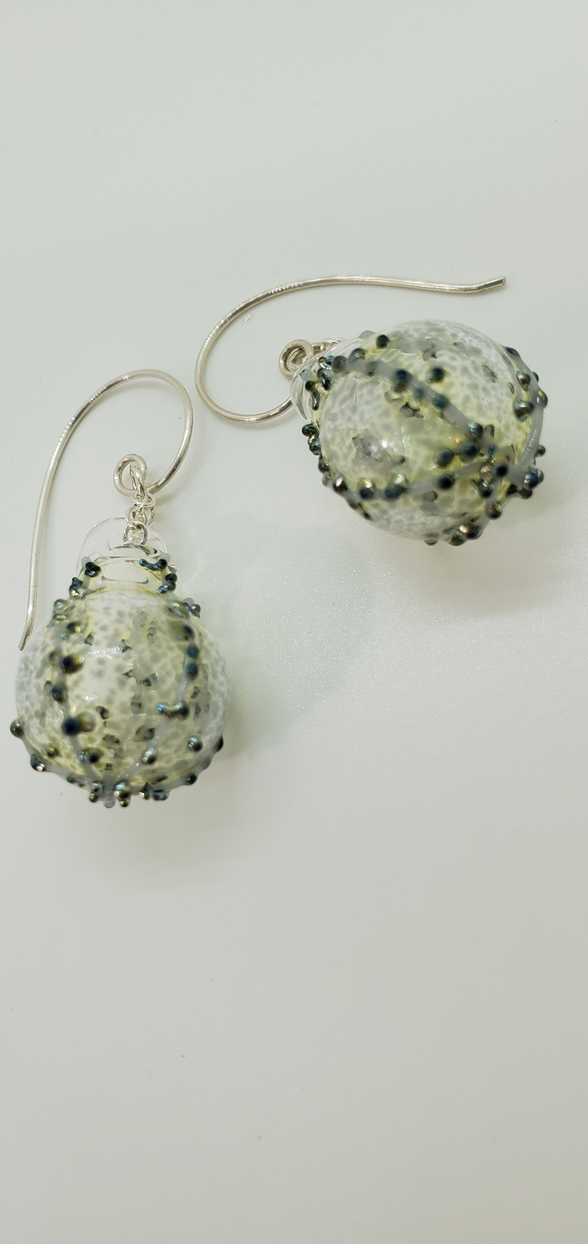 silver-onyx -gray bubble earrings- philadelphia