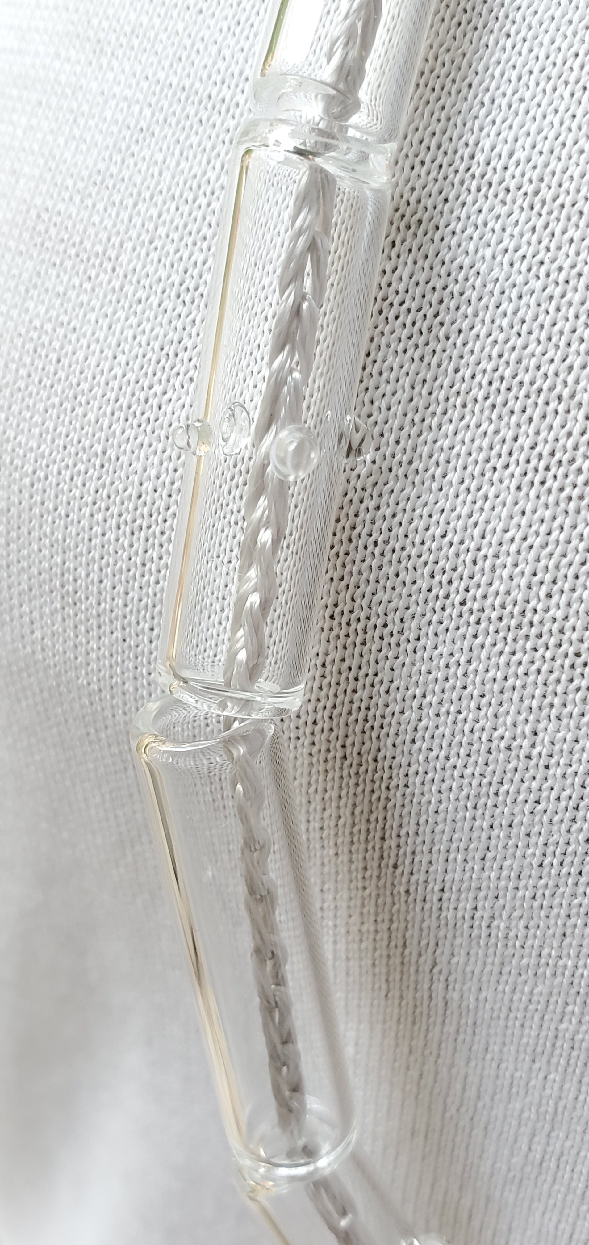 silver crochet cord clear glass tube necklace-small glass dots details-philadelphia