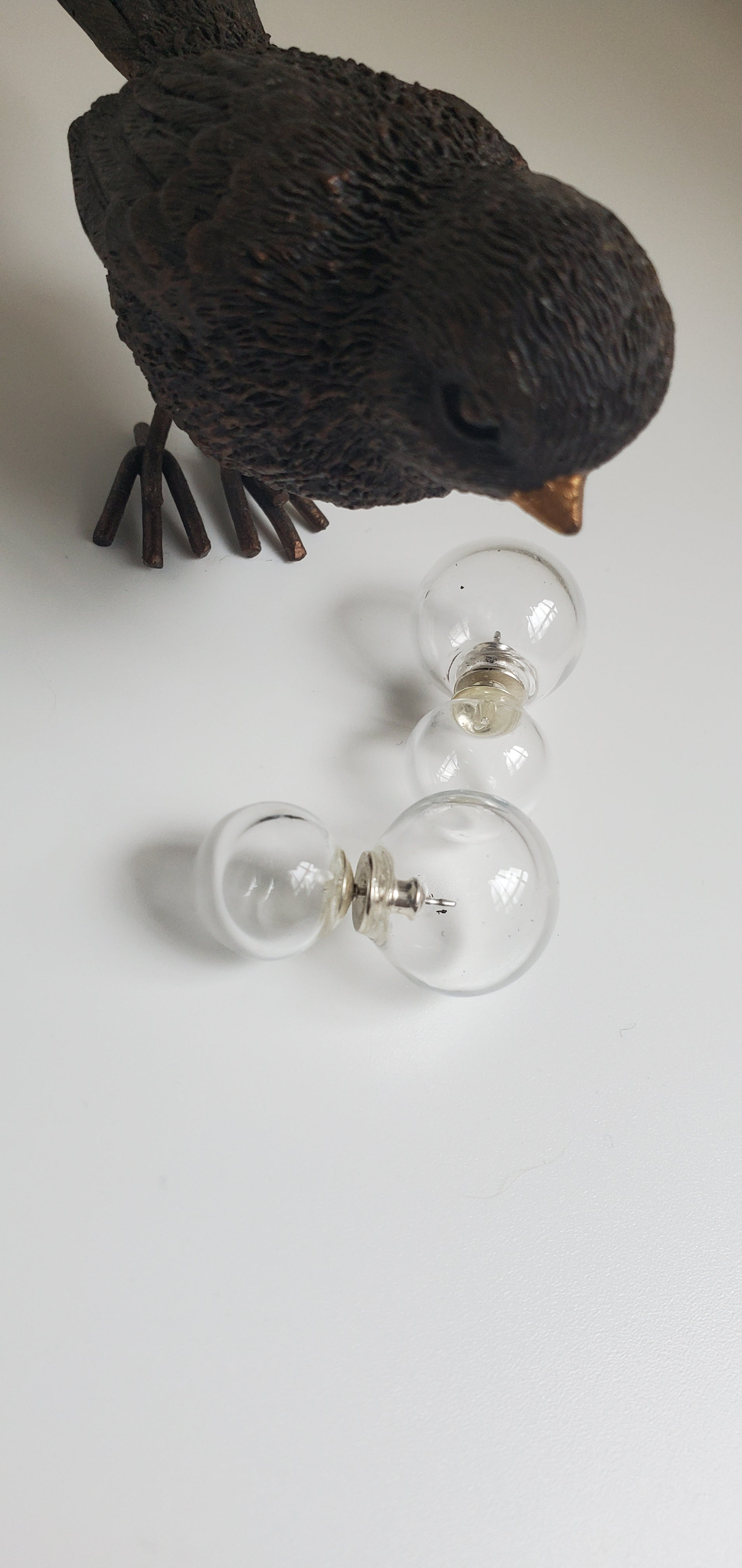 Clear Double sided glass bubble earrings