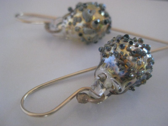 Glass bubble statement earrings- hand blown Pyrex- Sparkle and Gold Earrings