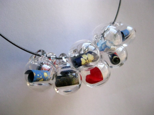Glass Bubble Statement Necklace -Origami Valentine- hand blown Pyrex Active