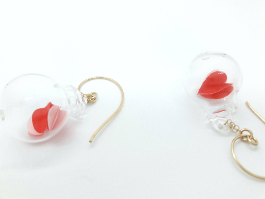 Valentines blown pyrex clear glass bubble earrings-red heart origami 3d paper.