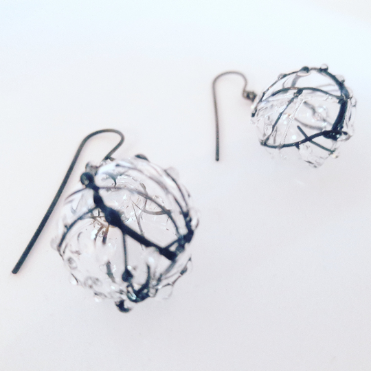 Glass blown bubble earrings- stained glass pod