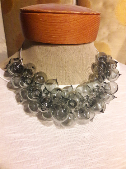 Statement hand blown glass necklace-Pyrex- transparent gray glass Active