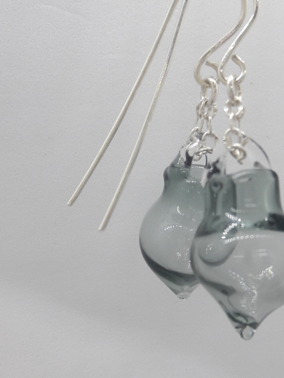 Blown glass earrings grey