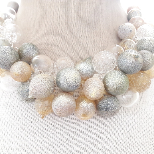 BLOWN GLASS statement necklace-Pyrex tiny bubbles necklace