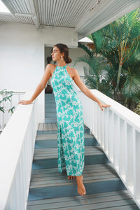 The Devon Dress - Green Hibiscus