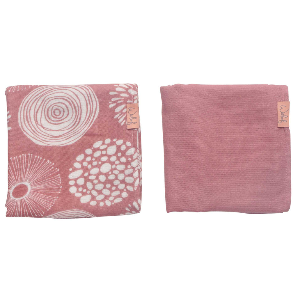 Witlof for Kids Hydrofiele Doek -  Sparkle rose / offwhite (2-pack)