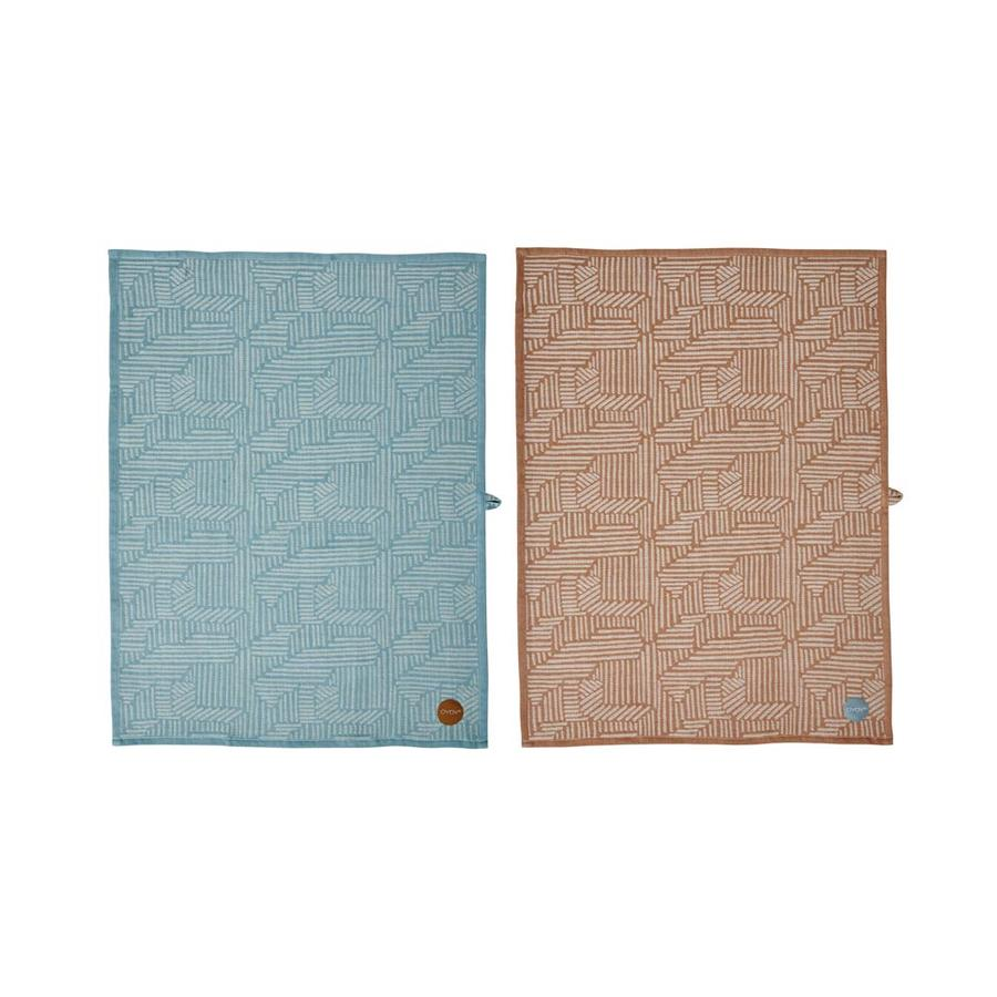 OYOY set Paddy Theedoeken  Pale Blue/Caramel