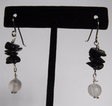 Selenite and Black Tourmaline Earrings
