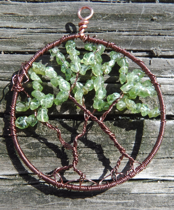 Peridot Tree of Life Pendant August Birthstone
