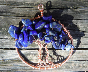 Lapis Lazuli Tree of Life Pendant September Birthstone