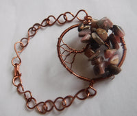 Rhodochrosite Tree of Life Copper Wire Bracelet