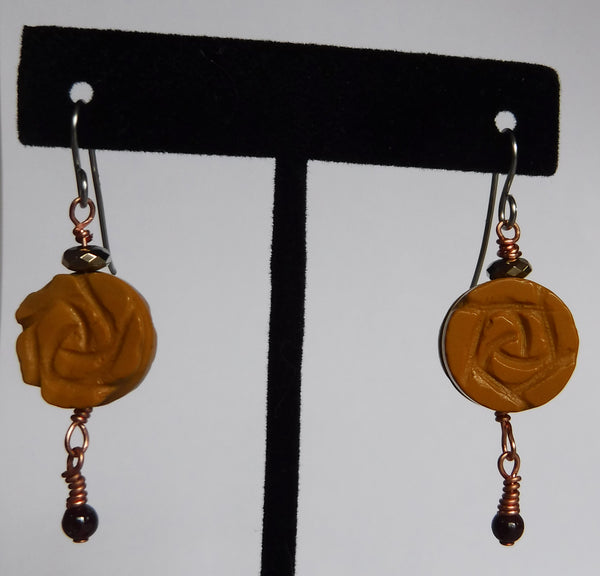 Carved Mookite Flower Earrings