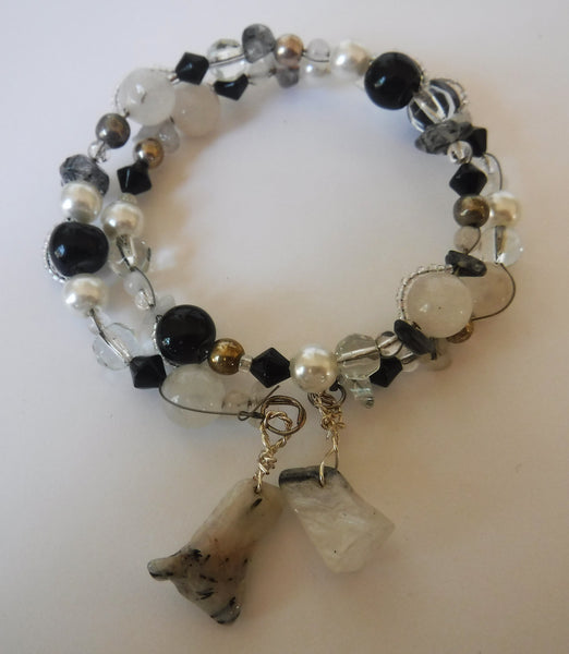Obsidian Quartz and Tourmalinated Quartz Wrap Wire Bracelet Handcrafted