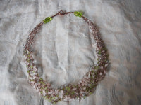 Peridot and Rose Quartz Copper Wire Crochet Necklace