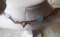 Larimar and Mother of Pearl Copper Wire Crochet Necklace