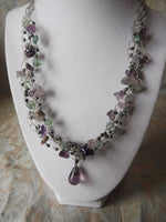 Fluorite and Lavender Amethyst SilverPlate Copper Wire Crochet Necklace