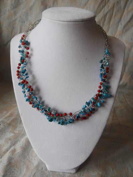Red Coral an Magnesite SilverPlate Copper Wire Crochet Necklace