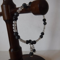 Snowflake Obsidian and Crystal Bracelet