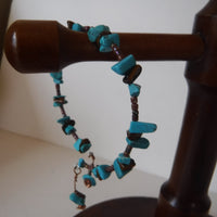 Tiger Eye and Blue Magnesite Wire Bracelet Handcrafted